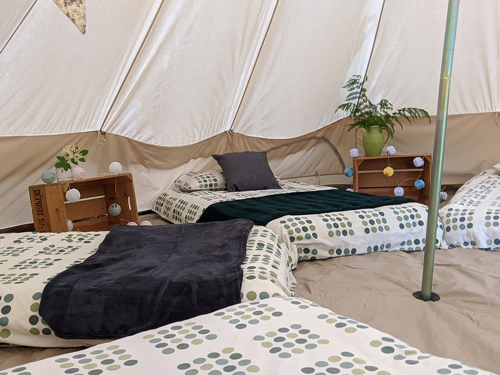 Inside of a glamping tent with beds