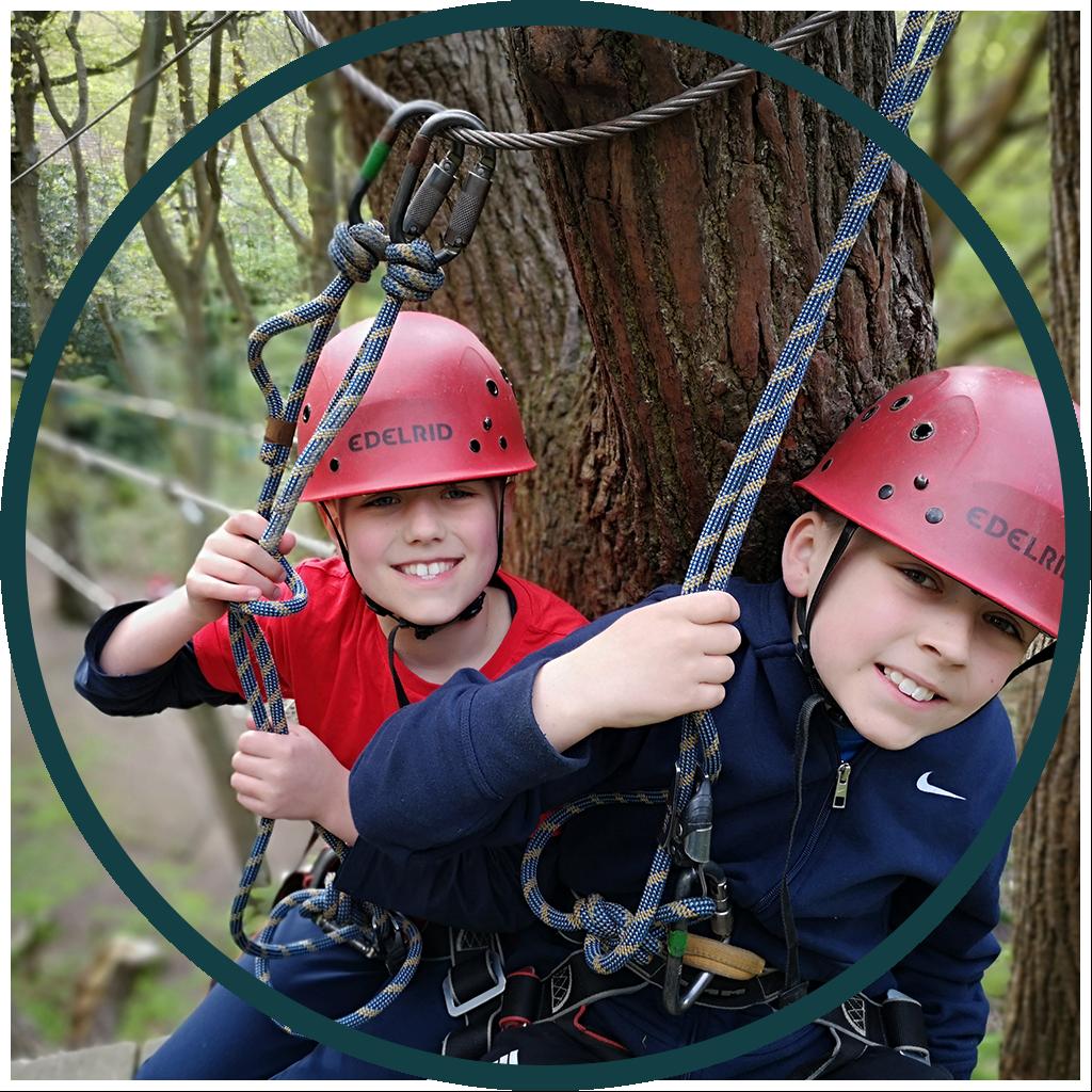 Young children zipwiring