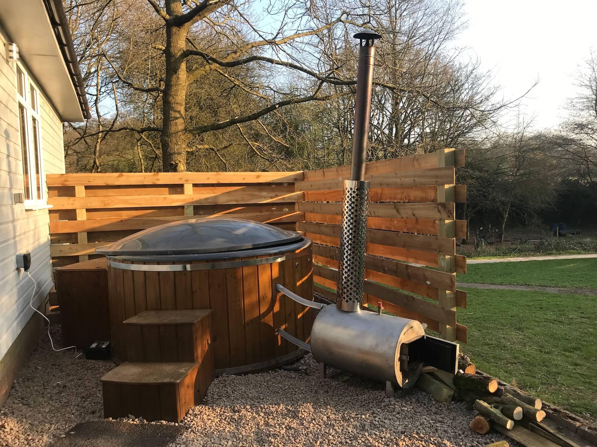 Wooden outdoor hot tub